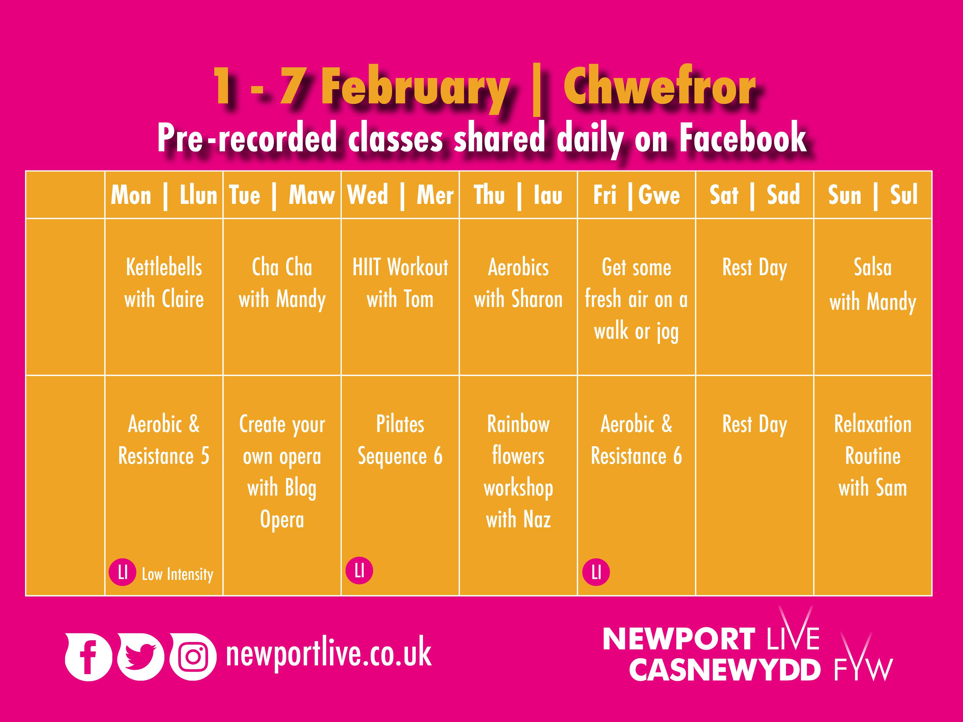 Lockdown Fitness Timetable 1-7 Feb