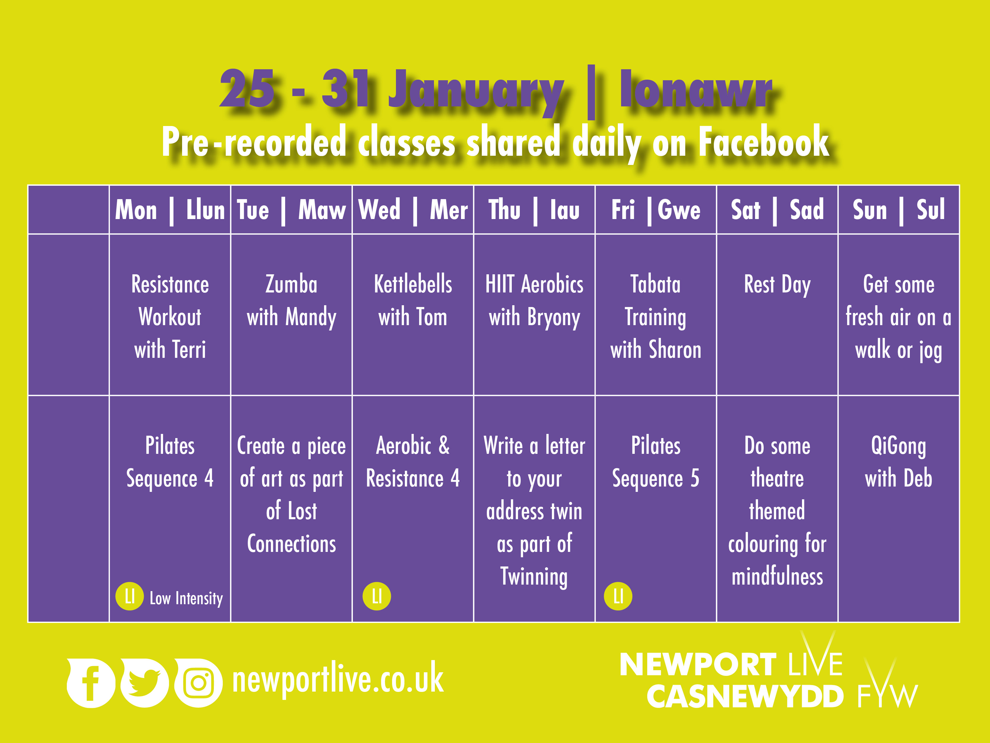 Lockdown Fitness Timetable 25-31 Jan