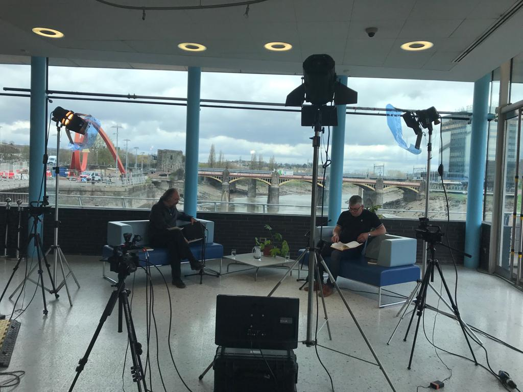 Sharif Gemie and Dylan Moore on the set at The Riverfront.jpeg