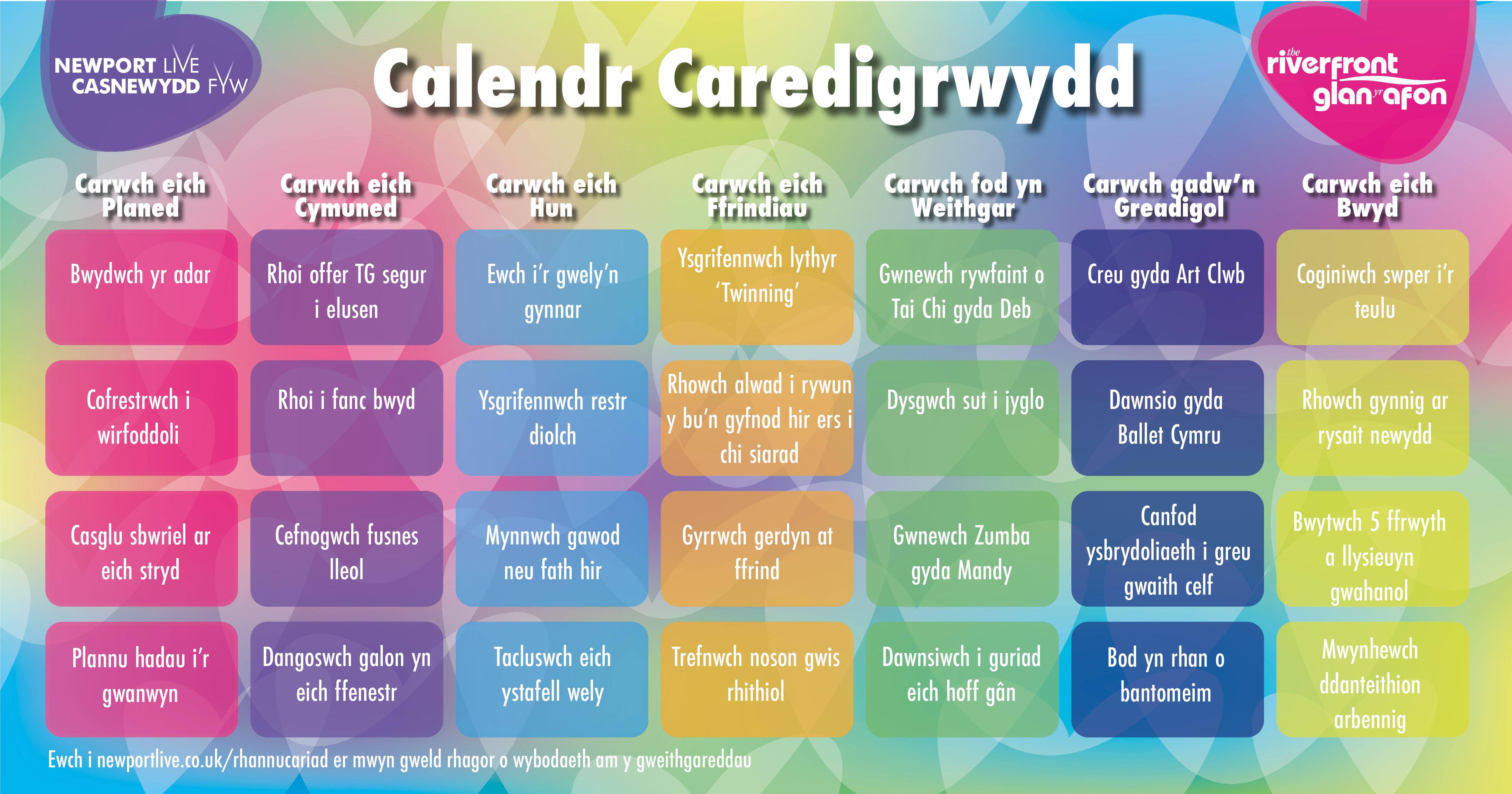 Kindness Calendar Challenge - Welsh