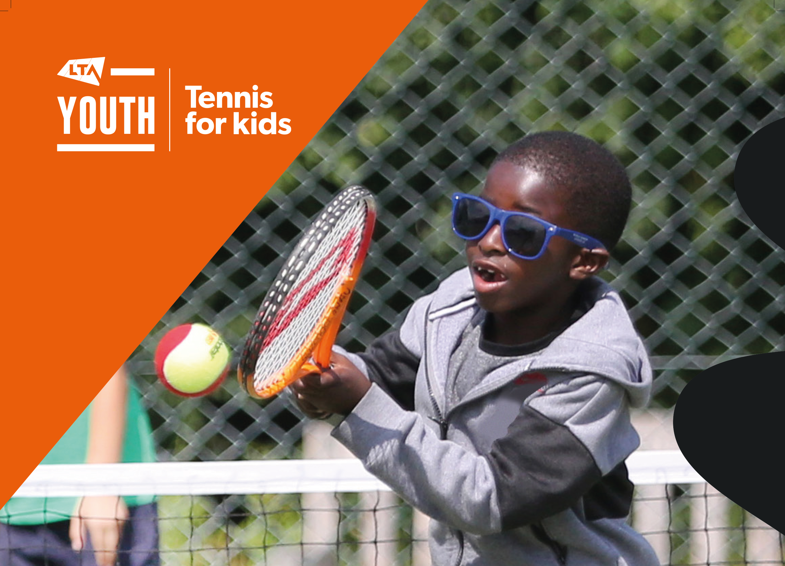 LTA Poster of young boy in sunglasses playing tennis