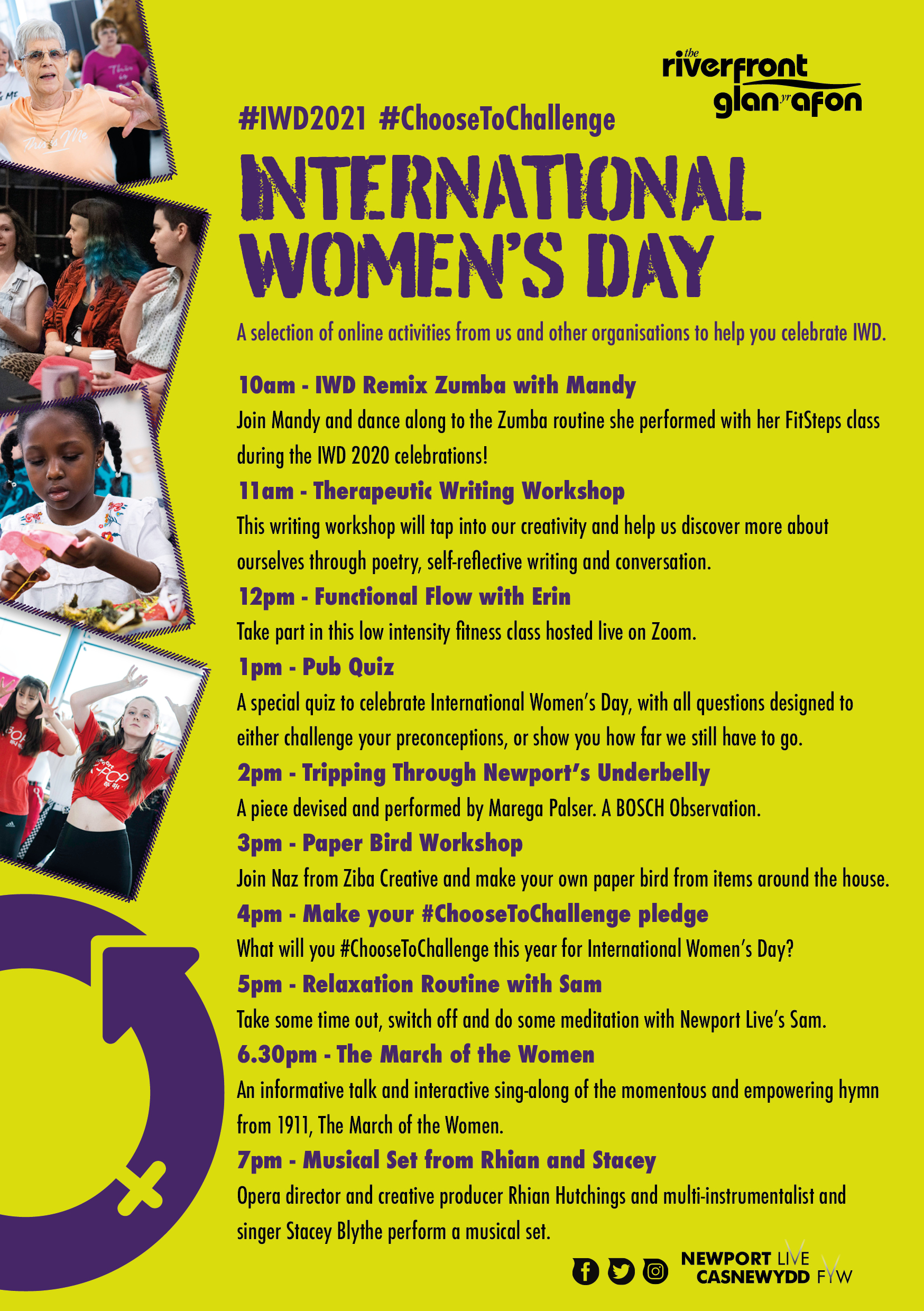 Timetable of activities for International Women's Day 2021